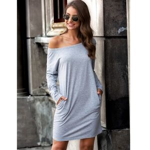 Casual Grey Boat Neck Long Sleeve Mini Dress